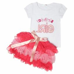 little girls clothing set birthday pink blue