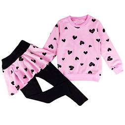 little girls clothing set outfit heart print