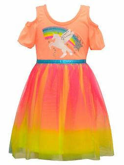 Little Girls Coral Rainbow Ombre Unicorn Cold Shoulder Easte