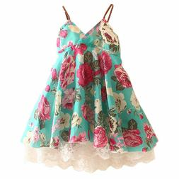 LittleSpring Little Girls Dress Sleeveless Flower Lace Green