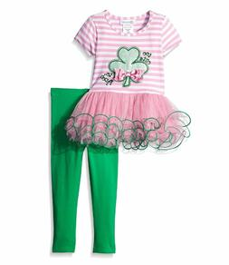 Bonnie Jean Little Girls Green Clover St Patrick's Bow Pink