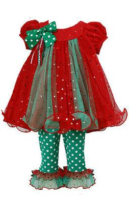 Bonnie Jean Little Girls Holiday Christmas Santa red Outfit