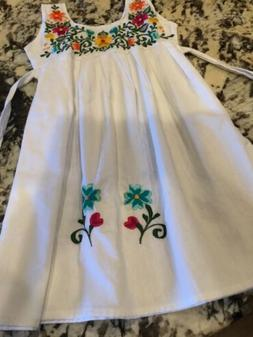 Little Girls Mexican Dress 100% Cotton Floral Cinco De Mayo