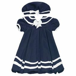 Rare Editions Little Girls Navy Stripe Bow Accent Sailor Hat