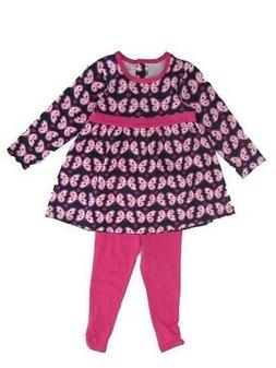 Little Me Little Girls Pink Butterfly Print Long Sleeve Set