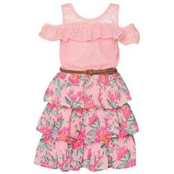 Real Love Little Girls Pink Cold-Shoulder Floral Tiered Belt