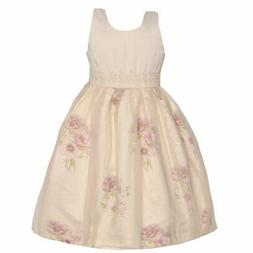 Mia Juliana Little Girls Pink Flower Embroidered Waist Easte