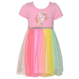 Little Girls Pink Multi Glitter Unicorn Sequin Applique East