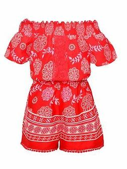 Real Love Little Girls Red Floral Motif Print Off-Shoulder C