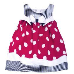 little girls red polka dotted ribbon knee