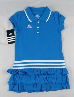 ADIDAS Little Girls Ruffled Polo Dress NWT Blue Summer Play