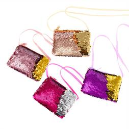 Little Girls Sequins Bag Small Square Coin Card Wallet Purse