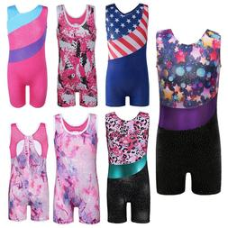 Little Girls Shiny Gymnastic Leotards Sports Training Ballet