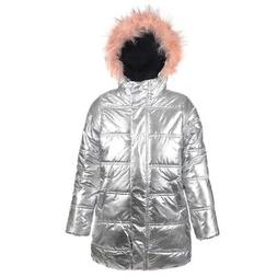 a80c8a3ad Editorial Pick Urban Republic Little Girls Silver Faux Fur Trim Hooded Puff