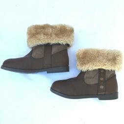 SIMPLE IMAGES Little Girls Size 10 Brown Winter Foldover Boo