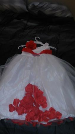Little girls size 6 dress up dress white and red with remova