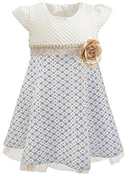 Lilax Little Girls' Sparkle Polka Dot Twirl Dress 3T Navy