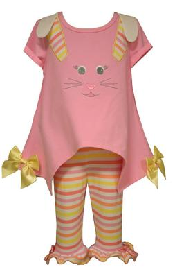 Bonnie Jean Little Girls Spring Holiday Easter Bunny Pink Ca
