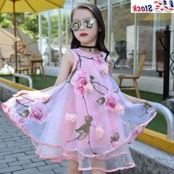 Little Girls Summer Flower Dresses Princess Clothes Fairy Pa