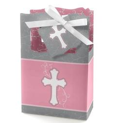 Little Miracle Girl Pink & Gray Cross - Baptism Party Favor