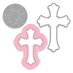 Little Miracle Girl Pink & Gray Cross - Baptism DIY Shaped P