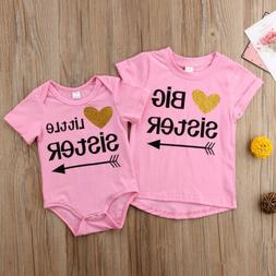 Little Sister Baby Girls Romper Big Sister T-shirt Tee Match
