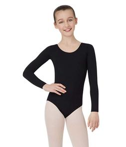 Capezio Little Girls' Team Basics Long Sleeve Leotard,Black,