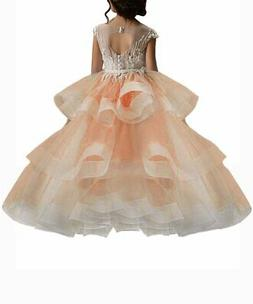 WDE Long Peach Little Girls Pageant Dresses for Wedding Kids
