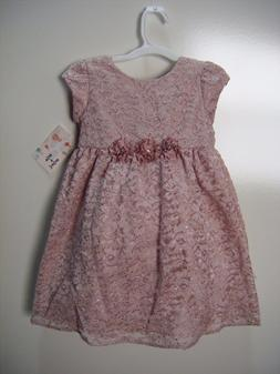 Mia & Mimi Little Girls Fancy Luxe Blush  Lace Dress, 5T