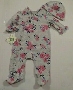 NEW Little Me Baby Girls 3 Mo 2 Piece Gray Pink Flowers Foot