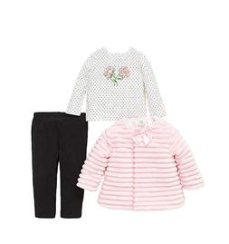 NEW Little Me Girls 3-Piece Set Faux Fur Jacket Set-3T