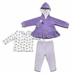 NEW Little Me Girls' 3-piece Top Hooded Jacket Pant Sets Vio