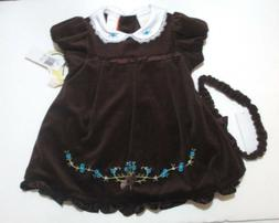 NEW GIRLS LITTLE BITTY BROWN VELVETEEN EMBROIDERED DRESS & H
