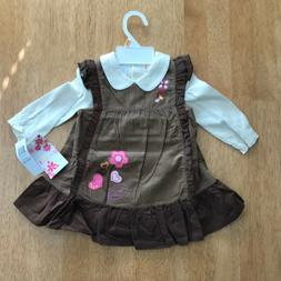New Girls Little Bitty Jumper Dress Brown Enroidered Flowers