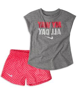 New Nike Little Girls 2-Pc. Graphic-Print T-Shirt & Printed