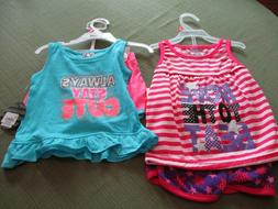 New!  Lot of Two!  Little girls Diva 2-piece short sets - Si