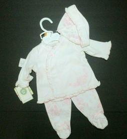 NEW NWT INFANT GIRLS LITTLE ME PINK FLORAL TOILE DOT FOOTIE
