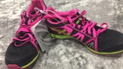 New with Tags ASICS Girls running shoes black lime pink Litt