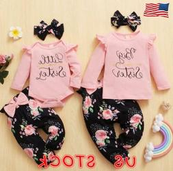 Newborn Baby Girl Matching Clothes Big/Little Sister Tops Ro