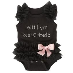 Newborn Baby Girls Clothes Little Black Dress Lace Tulle Rom