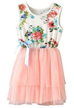 Niyage Little Girls Sleeveless Floral Princess Dress Tulle T