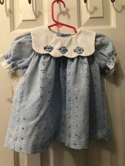 NWT Little Bitty Baby Girl Dress Size 12 Month Blue Gingham