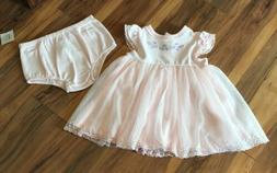 NWT Little Me Baby Girls 2pc  Pink Tulle Dress w/Diaper Cov