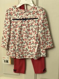 NWT Little Me Girls 3 Piece Set Outfit Coral Flower Top Legg