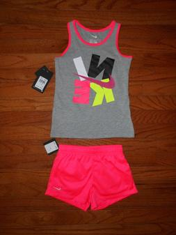 NWT Nike Little Girls 2pc shirt and racer pink short outfit