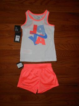 NWT Nike Little Girls 2pc white shirt and short outfit set,
