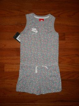 NWT Nike Little Girls grey romper outfit, size 4 & 6X