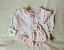 NWT Nordstrom Little Me 9M Pink Baby Girl Romper Cap Set Ros