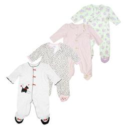 Little Me One Piece Footed Sleeper Pajamas for Baby Girls