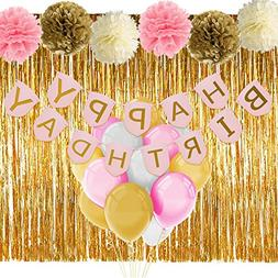 Pink and Gold Birthday Decorations with Banner Balloons Tiss